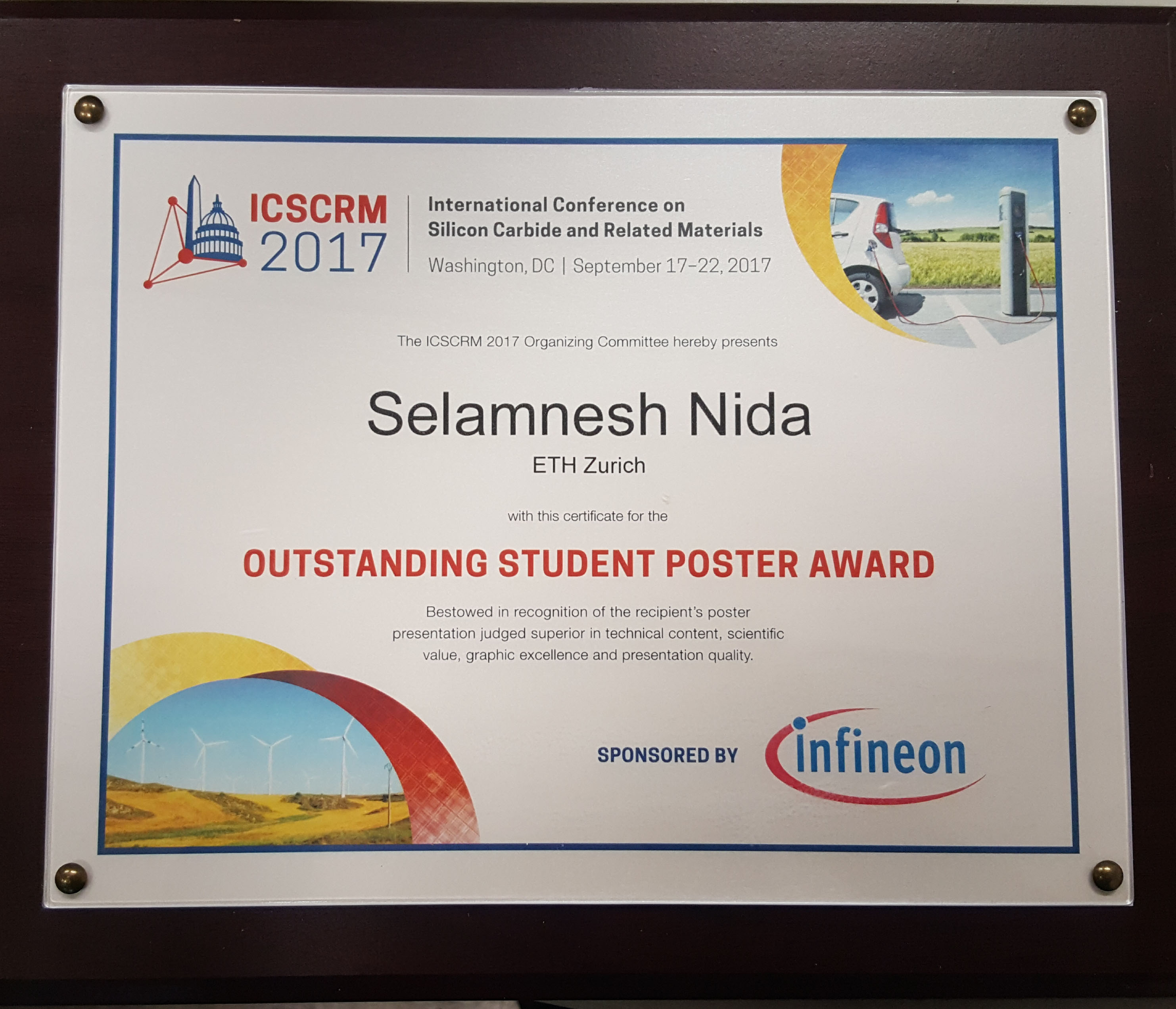 Icscrm 2017 poster award advanced power semiconductor laboratory we are happy to announce that the poster presentation of selamnesh nida phd student at the aps lab was awarded with the icscrm 2017 poster award toneelgroepblik Images